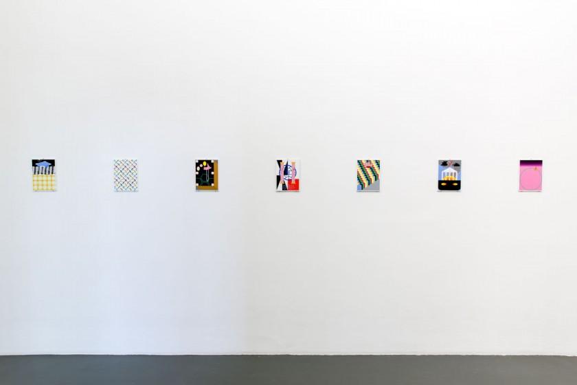 Kasper Bosmans, Legend: Decorations, 2016, gouache and pencil on paper, installation view Witte de With Center for Contemporary Art